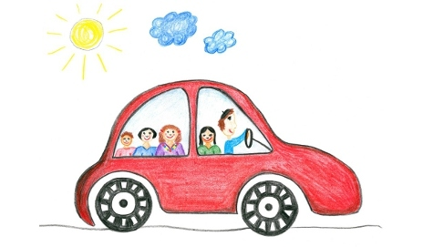 Childlike drawing of a family in a car