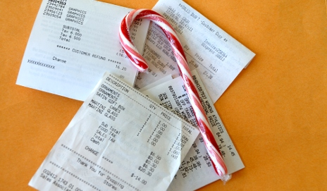 Candy cane on receipts