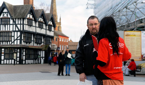 Charity worker on high street