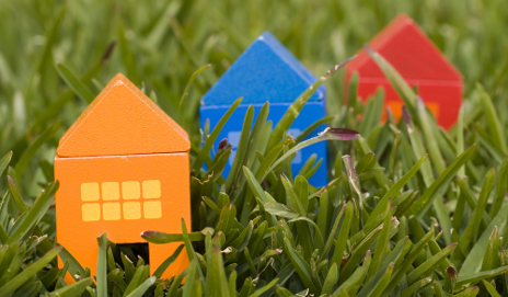 Model homes in grass