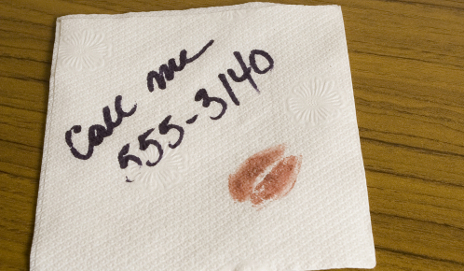 Phone number on napkin