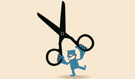Cartoon of man holding scissors