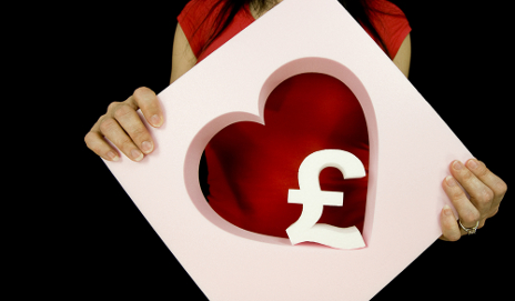 Pound sign in heart shaped card