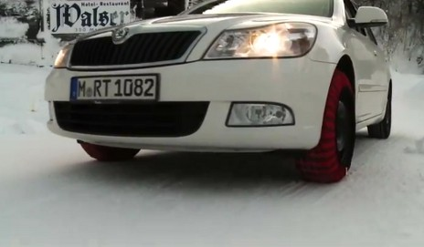 Car with snow socks
