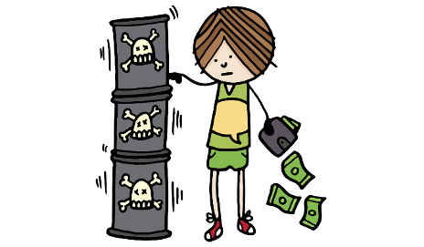 Cartoon of boy taking money from toxic containers