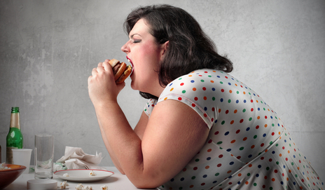 large lady with burger