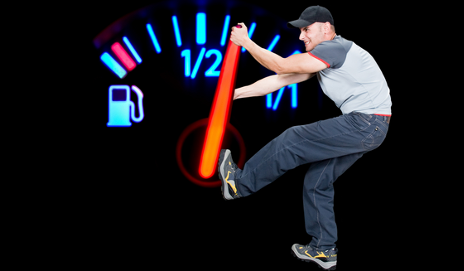 Angry man on fuel gage