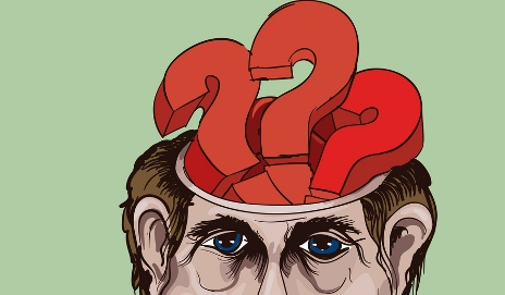 Cartoon man with question marks in head