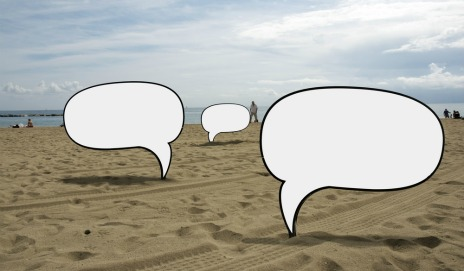 Speech bubbles on beach