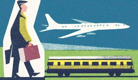 Cartoon of man, train and plane