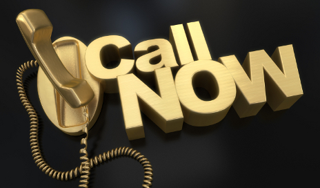 Gold phone with 'call now'