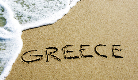 greece written in sand