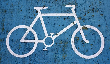 Bicycle on blue background