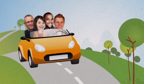 Blablacar promotional video of people in car