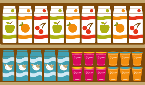 Food products on shelves