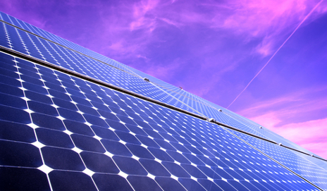 solar panels and purple sky