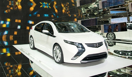 Toyota Ampera eco car in white