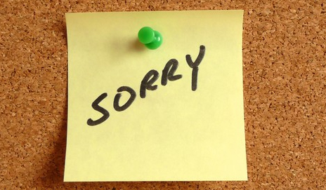 Post it with 'Sorry'