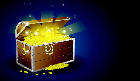Treasure chest against blue background