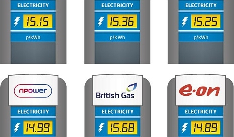 Energy tariffs in petrol pump style