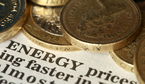 Pound coins on energy prices