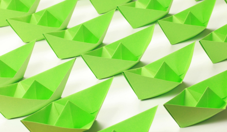 Green paper boats