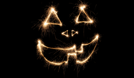 A scary face drawn in fireworks
