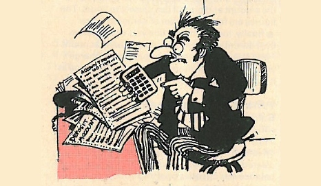 Cartoon of a man looking furiously at a calculator
