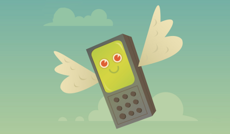 Happy flying mobile phone cartoon