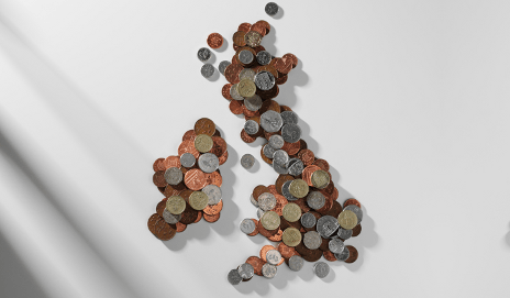 coins making up map of uk