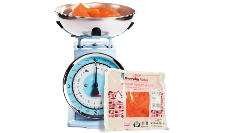 Smoked salmon in kitchen scales