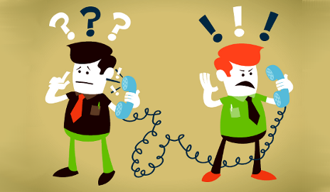 Cartoon with confused people on phone