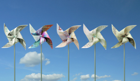 Paper windmills made out of currency in note form