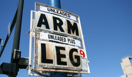 Fuel price sign saying 'Arm and leg'