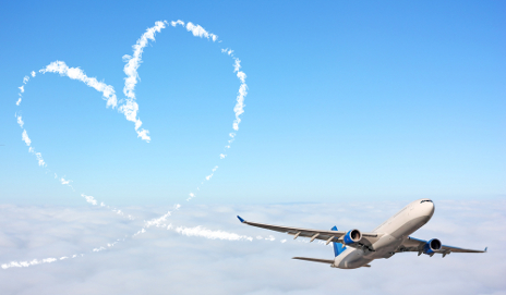 Plane with a love heart