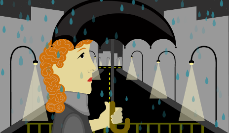 Unhappy woman using an umbrella