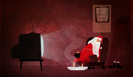 Santa Claus in front of TV