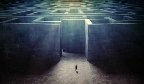 Man standing outside a large maze