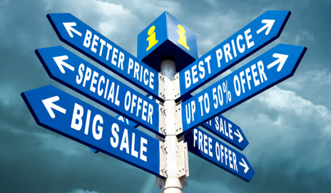 Signpost directing people to sales and special offers