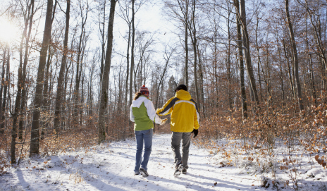 Couple walking in snowy forest
