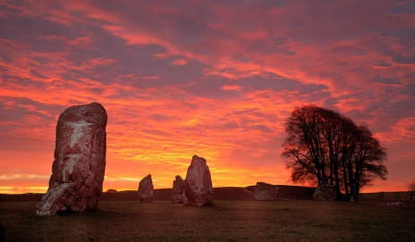 Avebury stone circle in Wiltshire at sunrise