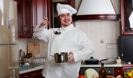 A chef in a domestic kitchen