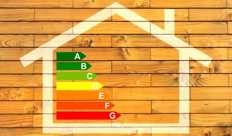 Drawing of a home with energy efficiency ratings