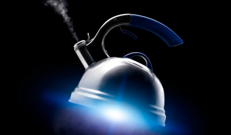 Kettle floating in space