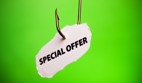 Special offer hanging on a fishing hook