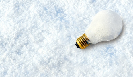 A light bulb in the snow