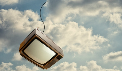 A television falling through the sky