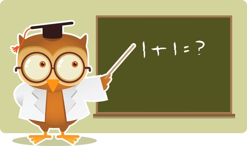 An owl teacher standing at a blackboard teaching maths