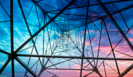 The inside of a pylon at sunset