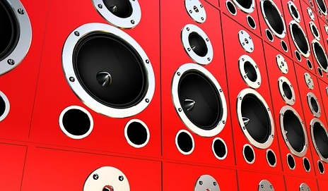 Red speakers